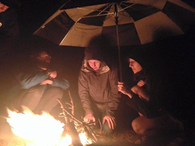 Making a fire in the pouring rain, aka becoming bff's with Donald and Kevin